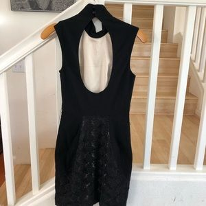 Bebe black sexy lace  high neck bodycon dress